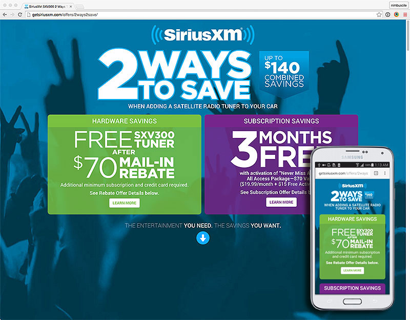 "Click to Visit the SiriusXM ""2 Ways to Save"" Promo"