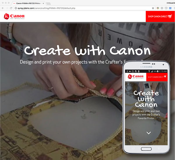 Click to Visit the Canon PIXMA iP8720 Crafting Microsite